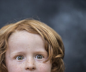 Portrait of young boy, red hair, close-up - ISF12188