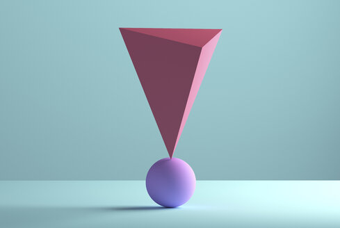 Pyramid balancing on a sphere, 3D Rendering - DRBF00065