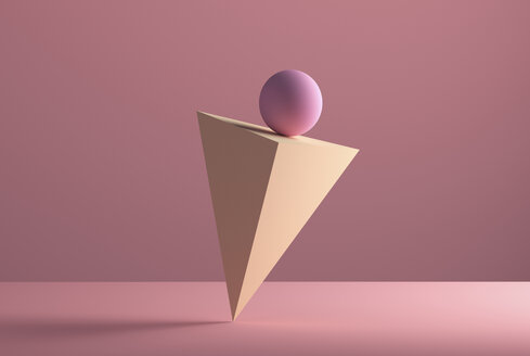 Sphere balancing on the edge of a pyramid, 3D Rendering - DRBF00068