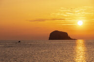 Great Britain, Scotland, East Lothian, North Berwick, Firth of Forth, view of Bass Rock at sunrise, lighthouse - SMAF01017