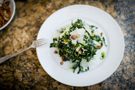 Plate of kale salad and nuts on restaurant table - ISF12763