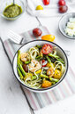 spaghetti with shrimps, green asparagus, tomato, pesto and parmesan - SARF03789