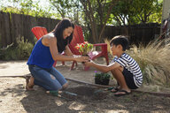 Mother and son planting in garden - ISF13239