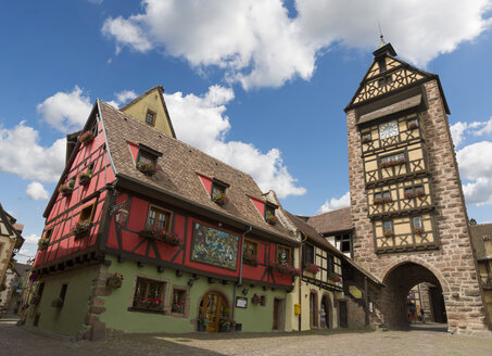 France, Alsace, Ribeauville, Old town, city gate - KLRF00602