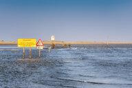 United Kingdom, Northumberland, tidal causeway to Lindisfarne, Holy Island at high tide - SMAF01033