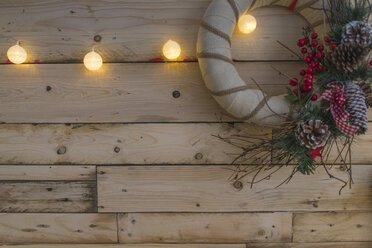 Christmas decoration on wooden background - SKCF00516