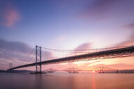 United Kingdom, Scotland, Firth of Forth, Forth Road and Rail Bridges, sunrise - SMAF01048