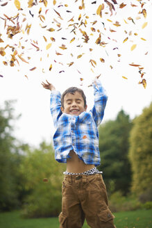 Male toddler in the garden throwing up autumn leaves - CUF34349