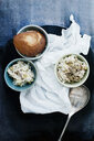 Still life of two bowls of risotto appetizer and bread - ISF14292