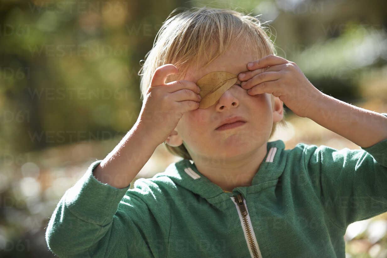 Boy holding leaf over eyes - ISF14334 - Vanessa Lenz/Westend61