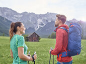Austria, Tyrol, Mieming, couple hiking in alpine scenery - CVF00871