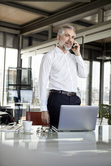 Businessman on cell pohone at desk in office - RBF06320