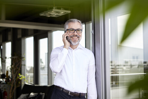 Smiling businessman standing at French door talking on cell phone - RBF06332