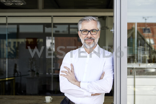 Portrait of smiling businessman standing at French door - RBF06335