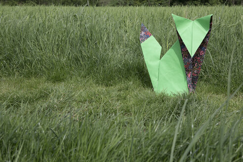 Origami fox sitting on meadow - PSTF00160