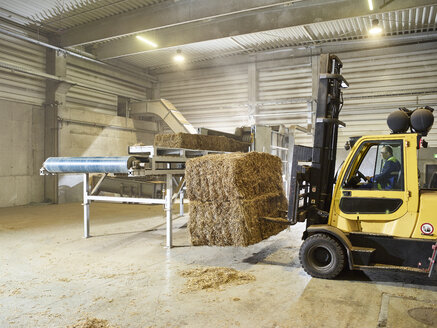 Rumania, woodworking, stacker truck with hay bales - CVF00908