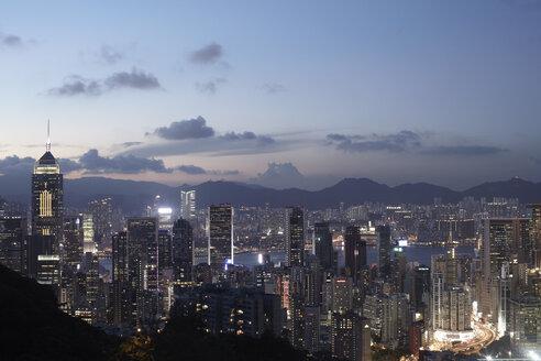 Aerial view of  city at dusk, Hong Kong, China - CUF35059
