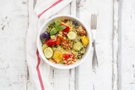 Couscous with grilled vegetables, aubergine, zucchini, paprika, tomato, red onion, rosemary and basil - LVF07147