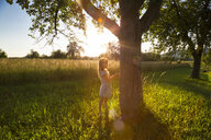 Young girl standing at tree against evening sun in summer - LVF07166