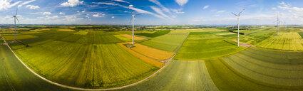 Germany, Rhineland-Palatinate, Alzey, Wind park and fields - AMF05792