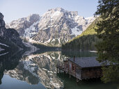 taly, South Tyrol, Dolomites, Lago di Braies, Fanes-Sennes-Prags Nature Park in the morning light - MADF01402