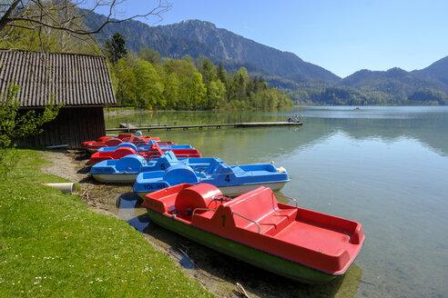 Germany, Bavaria, Upper Bavaria, Lake Kochelsee, View to Herzogstand and Heimgarten - LBF01970