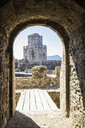 Greece, Peloponnese, Messenia, Methoni, Fortress, Tower Burtzi and Sapientza Island in the background - MAMF00113