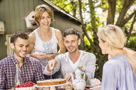 Group of friends enjoying garden party - CUF37823
