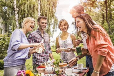 Group of friends enjoying garden party - CUF37829