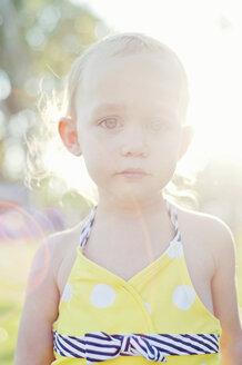 Close up portrait of backlit female toddler - ISF14604