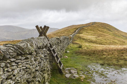 United Kingdom, England, Cumbria, Lake District, wood ladder, stone wall on the way to Helvellyn - WPEF00557