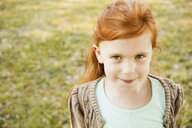 Portrait of red haired girl in park - ISF15033