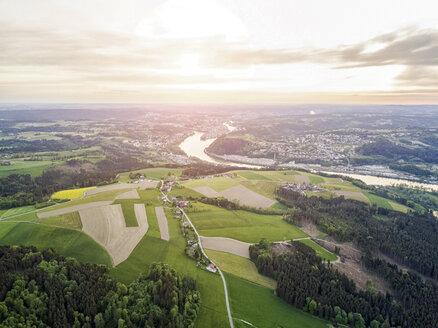 Germany, Bavaria, Passau, Aerial view of the city of three rivers and Danube river - JUNF01055