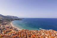 View of coastline and town of Cefalu, Sicily, Italy - CUF38485