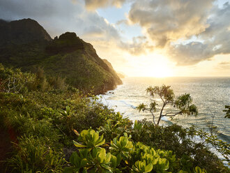 USA, Hawaii, Kauai, hiking trail at Na Pali Coast - CVF00931
