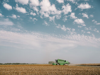 Serbia, Vojvodina, Combine harvester in soybean field - NOF00047