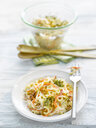 Noodle salad with carrot, walnut and cress on plate - KSWF01957