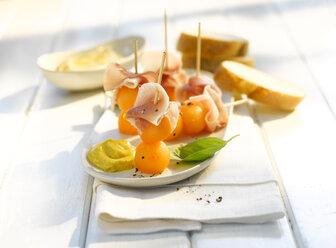 Melon bacon appetizer, curry sauce, finger food - KSWF01966