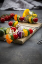 Raw vegetarian grill skewers on wooden board - LVF07184