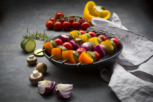 Vegetarian grill skewers on bowl and ingredients - LVF07190