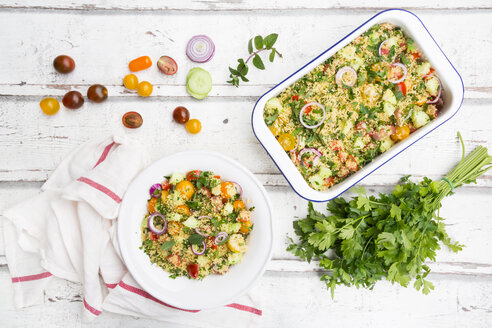 Couscous salad with tomatoes, cucumber, parsley and mint - LVF07202