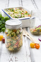 Preserving jar of Couscous salad with tomatoes, cucumber, parsley and mint - LVF07205