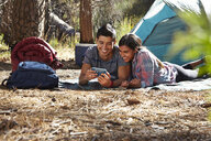 Young camping couple looking at smartphone in forest, Los Angeles, California, USA - ISF15893
