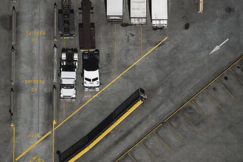 Aerial view of parked trucks, Port Melbourne, Melbourne, Victoria, Australia - ISF16211