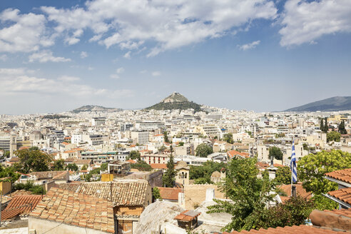 Greece, Attica, Athens, View from Plaka district to Mount Lycabettus - MAMF00140