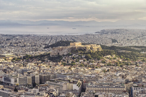 Greece, Attica, Athens, View from Mount Lycabettus over city with Acropolis - MAMF00149