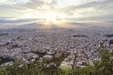 Greece, Attica, Athens, View from Mount Lycabettus over city at sunset - MAMF00152