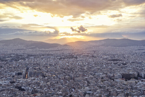 Greece, Attica, Athens, View from Mount Lycabettus over city at sunset - MAMF00155