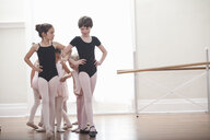 Group of girls practicing with hands on hips in ballet school - ISF16416