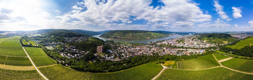 Germany, Rhineland-Palatinate, Aerial view of Weiler am Rhein, Nahe river and Bingen am Rhein - AMF05811